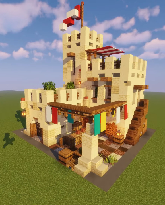 Desert stone house with marketplace