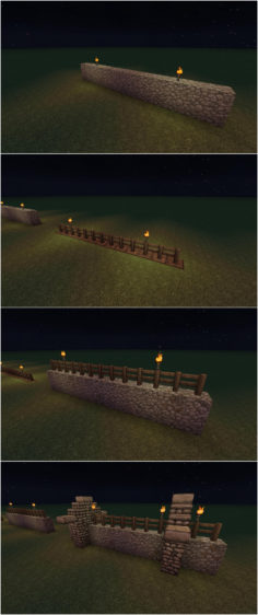 Simple wall and fence into buttressed wall